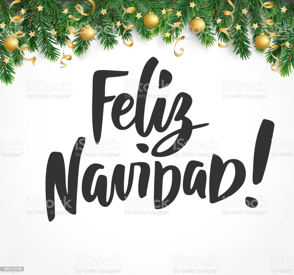 Feliz Navidad Text Holiday Greetings Spanish Quote Fir Tree Branches