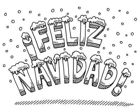Feliz Navidad Text Snowing Drawing