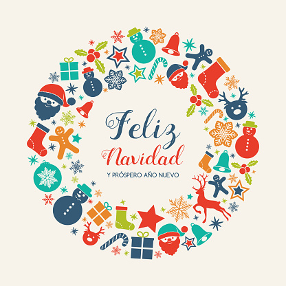 Feliz Navidad - translated from spanish as Merry Christmas. Vector