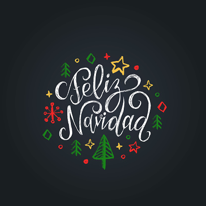 Feliz Navidad translated from Spanish Merry Christmas lettering on black background.Happy Holidays greeting card, poster