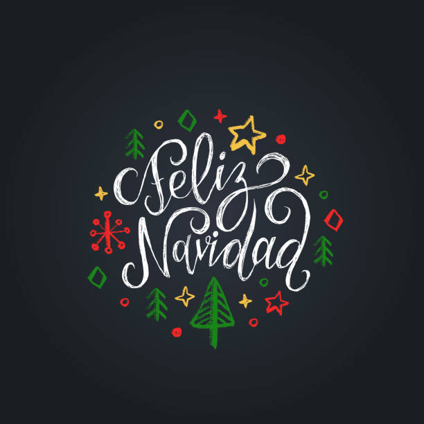 Feliz Navidad translated from Spanish Merry Christmas lettering on black background.Happy Holidays greeting card, poster Feliz Navidad translated from Spanish Merry Christmas lettering on black background. Vector hand drawn illustration of snowflakes, stars and spruces. Happy Holidays greeting card, poster template. navidad stock illustrations