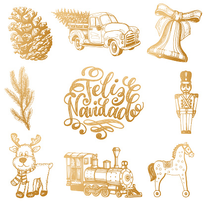 Feliz Navidad translated from spanish Merry Christmas lettering with New Year hand drawn illustrations.