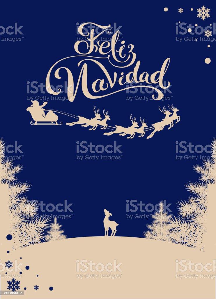 feliz navidad translation spanish merry christmas silhouette santa sleigh of reindeer in night sky