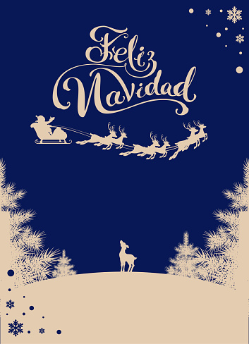 Feliz navidad translation Spanish Merry Christmas. Silhouette Santa sleigh of reindeer in night sky. Winter forest