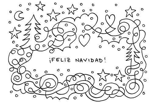 Feliz Navidad Winter Christmas Night Doodle Drawing