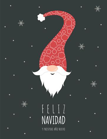 Feliz navidad with cute scandinavian gnome in red hat. Season greetings.