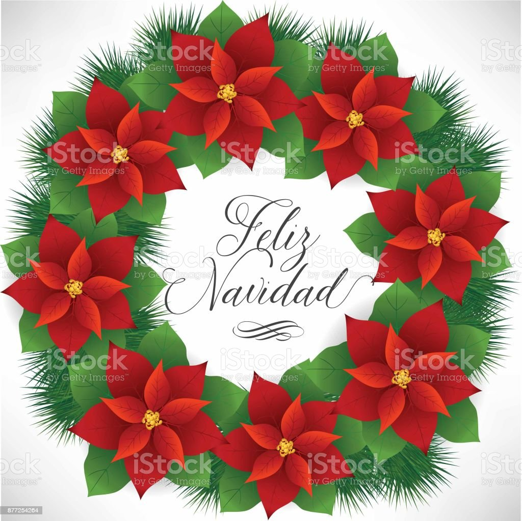 Feliz Navidad Wreath Composition Stock Vector Art More Images Of