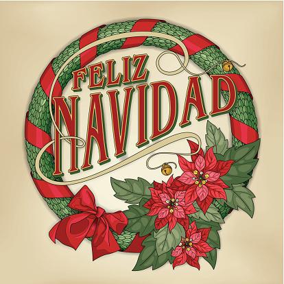 Feliz navidad wreath with red poinsettias (christmas card calligraphy)
