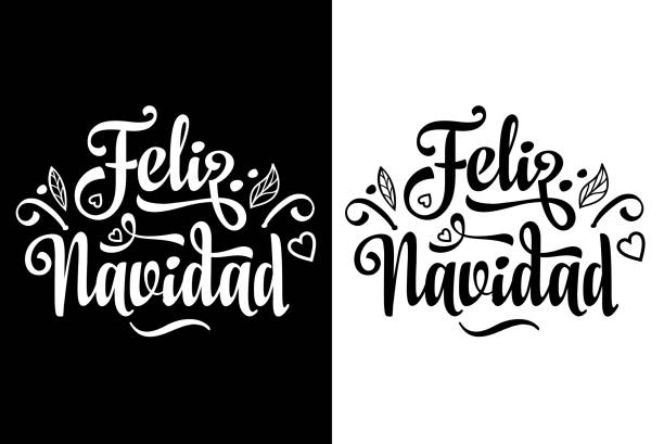 Feliz navidad. Xmas card on Spanish language. Feliz navidad. Christmas lettering. Vintage style. Monochrome, black and white illustration. Digital image for greeting card in the winter holiday. navidad stock illustrations