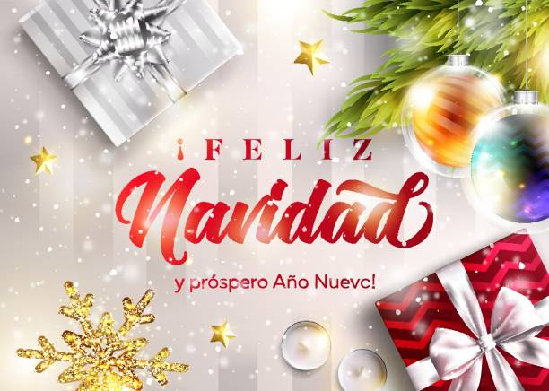 Feliz Navidad y prospero Ano Nuevo. Merry Christmas and Happy New Year in Spanish. Vector Greeting Card Template. Holiday Scene with Text, Gift Boxes, Christmas Ball, Snowflake. Festive Xmas Poster. Feliz Navidad y prospero Ano Nuevo. Merry Christmas and Happy New Year in Spanish. Vector Greeting Card Template. Holiday Scene with Text, Gift Boxes, Christmas Ball, Snowflake. Festive Xmas Poster. navidad stock illustrations