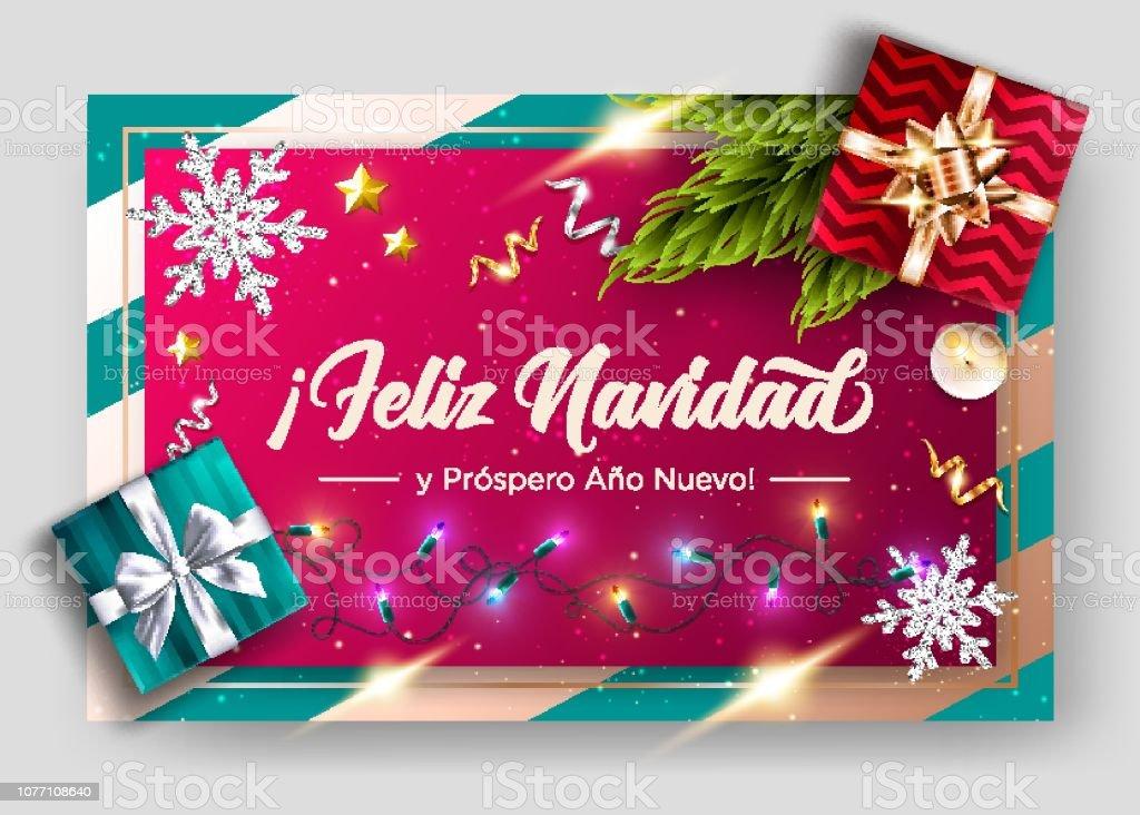 Buon Natale In Spagnolo.Feliz Navidad Y Prospero Ano Nuevo Buon Natale E Felice Anno Nuovo In Spagnolo Modello Di Biglietto Di Auguri Vettoriale Composizione Delle Festivita Vista Dallalto Poster Di Natale Festivo Immagini Vettoriali