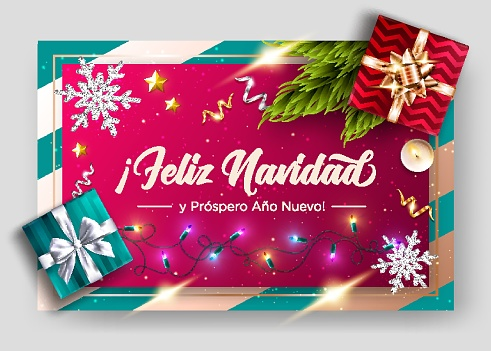 Feliz Navidad y prospero Ano Nuevo. Merry Christmas and Happy New Year in Spanish. Vector Greeting Card Template. Holiday Composition, Top View.  Festive Xmas Poster.