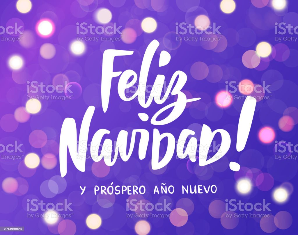 feliz navidad y prospero ano nuevo spanish merry christmas and happy new year hand drawn