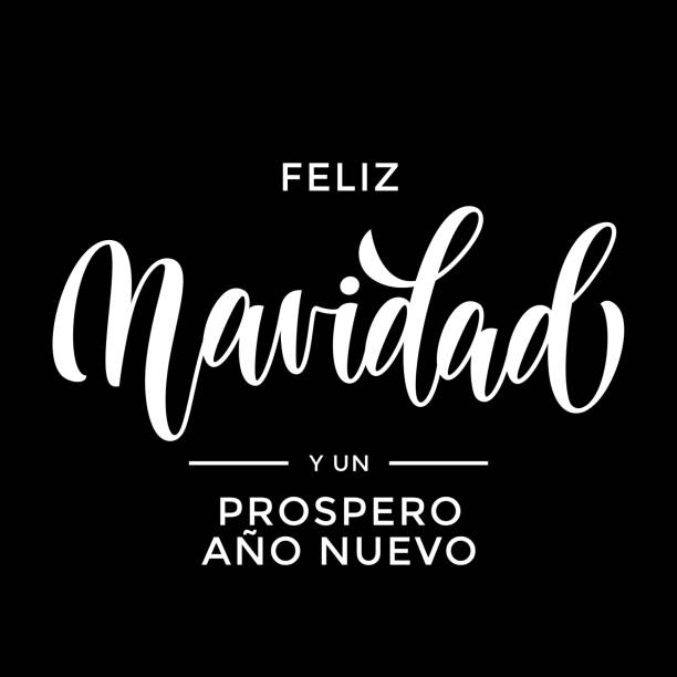 Feliz Navidad y Prospero Ano Nuevo Spanish Merry Christmas and Happy New Year hand drawn calligraphy modern lettering text for Christmas, New Year greeting card. Vector holiday quote black background Feliz Navidad y Prospero Ano Nuevo Spanish Merry Christmas and Happy New Year hand drawn calligraphy modern lettering text for Christmas, New Year greeting card. Vector holiday quote black background navidad stock illustrations