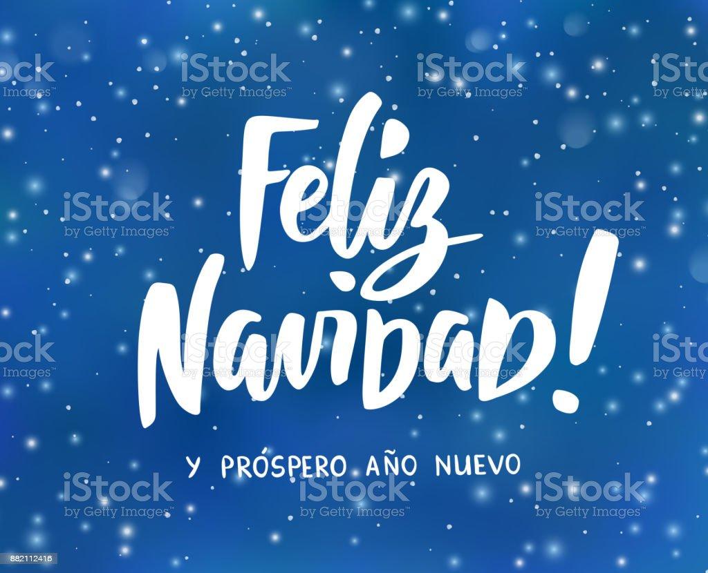 Carta De Felicitaciones De Navidad Y Ano Nuevo.Ilustracion De Feliz Navidad Y Prospero Ano Nuevo Espanol