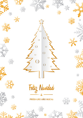 """Feliz Navidad y próspero Año Nuevo origami card template in Spanish. Translation: """"Merry Christmas and Happy New Year"""". Greeting card invitation with Christmas pine trees and snowflakes."""