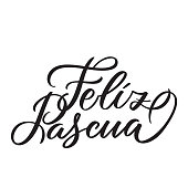Feliz Pascua - Easter greetings on Spanish vector typography, calligraphy, lettering, hand-writing. Composition in one color. For banner, label, tag, poster, wallpaper, flyer, invitation, cutout.
