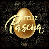 Feliz Pascua - Happy Easter hand drawn typography lettering in Spanish language on realistic golden shine egg. Invitation illustration card, promotion, poster, flyer, web-banner, article.