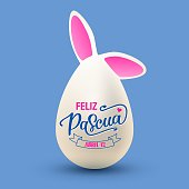 Feliz Pascua - Happy Easter vector illustration. Egg with bunny ears and hand drawn lettering in spanish. Festive design for poster, banner, flyer, badge, invitation, greeting card
