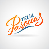 Feliz Pascuas - Easter greetings on Spanish vector typography, calligraphy, lettering, hand-writing in two colors. For banner, label, tag, poster, wallpaper, flyer, invitation