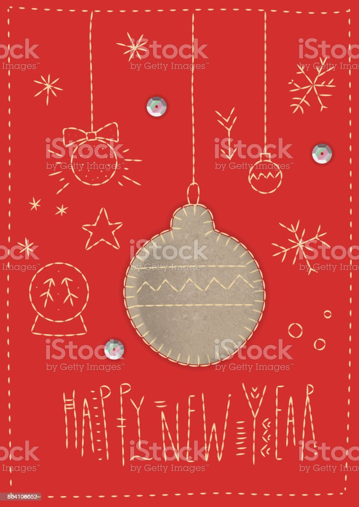 Felt Christmas ball on a red background with holiday symbols and lettering 'Happy New Year'. royalty-free felt christmas ball on a red background with holiday symbols and lettering happy new year stock vector art & more images of backgrounds