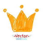 Felt pen childlike drawing of crown.