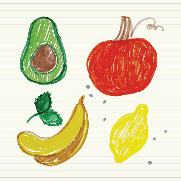 Felt pen fruit doodles set Vector Illustration.EPS10, Ai10, PDF, High-Res JPEG included. avocado drawings stock illustrations
