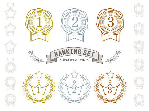 A felt-tip pen style hand-painted illustration set for ranking. Sealing wax with ribbon. And a crown with a laurel wreath.
