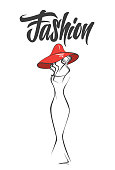 Female abstract silhouette in hat. fashion style