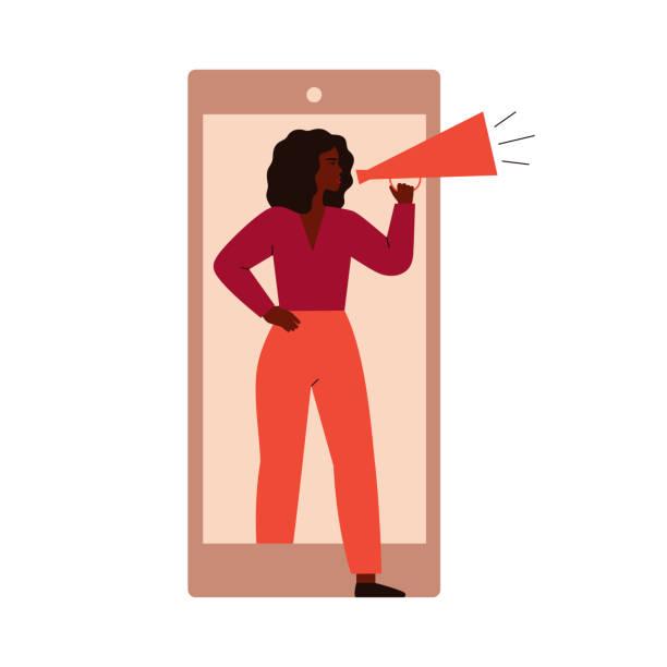 ilustraciones, imágenes clip art, dibujos animados e iconos de stock de una mujer activista protesta desde la pantalla del teléfono celular. - manifestación