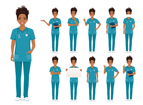 Female african nurse character set