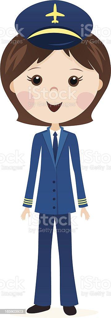 female airline pilot cartoon royalty-free stock vector art