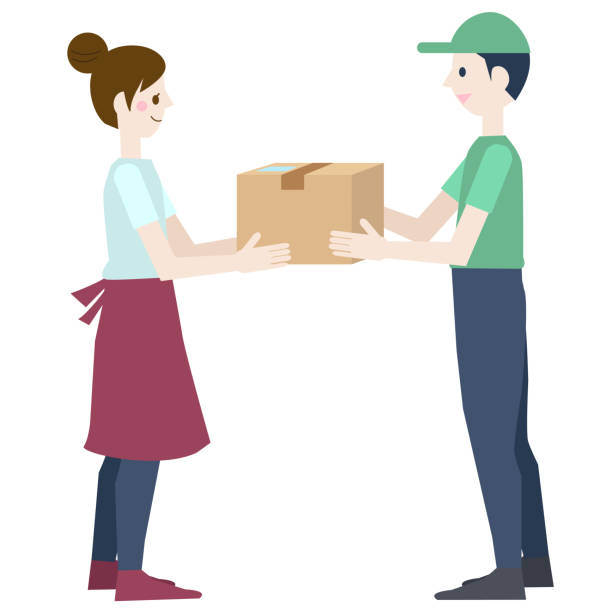 Female and male delivery staff receiving packages vector art illustration