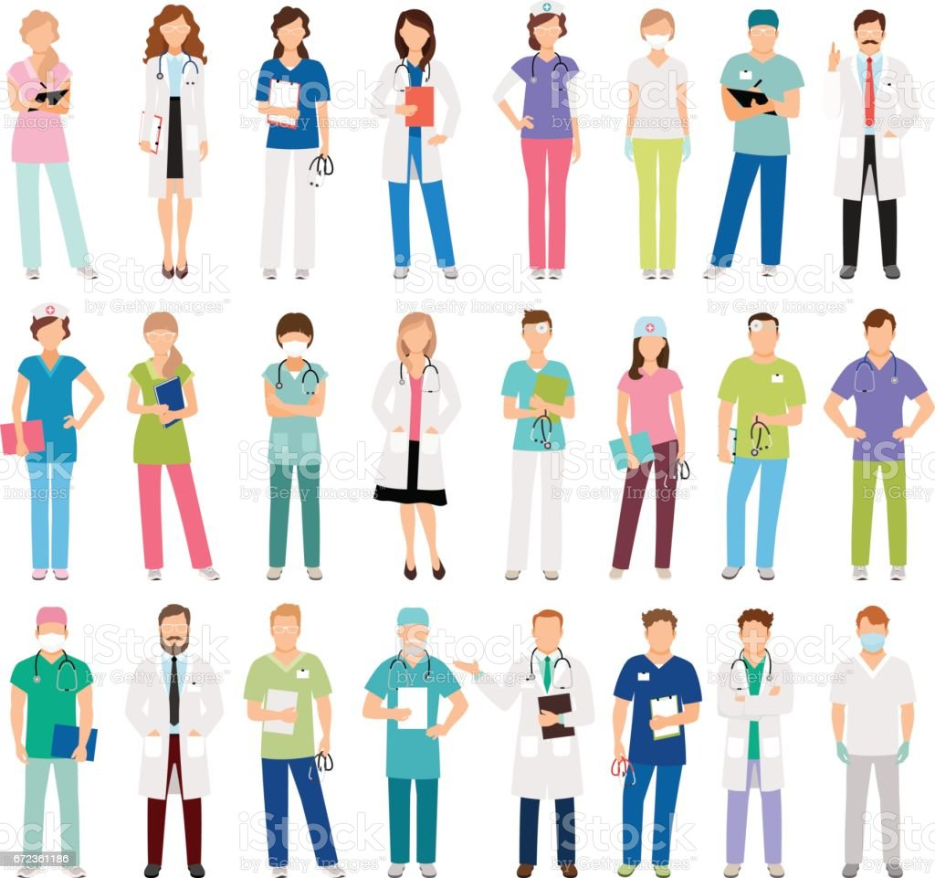 Female and male doctors and nurses vector art illustration