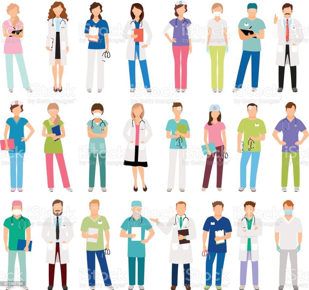 Enfermeras y médicos femeninos y masculinos - ilustración de arte vectorial