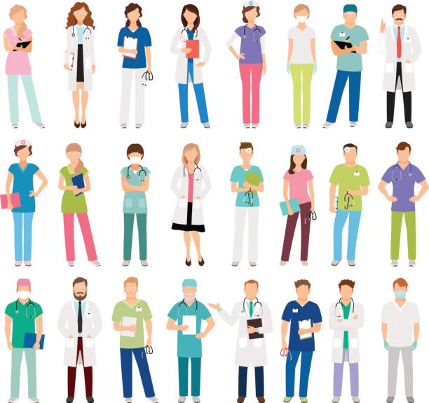 illustrazioni stock, clip art, cartoni animati e icone di tendenza di female and male doctors and nurses - paziente