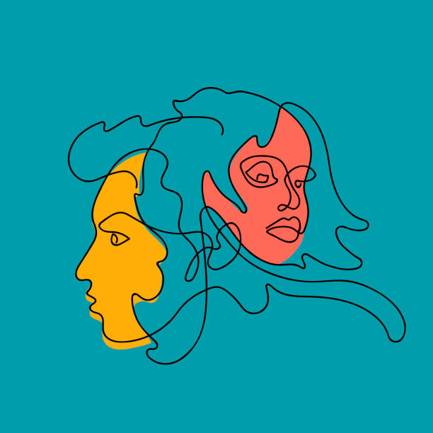 女性和男性的臉連續的線條, 畫固定的面孔和髮型。時尚理念, 女性美容簡約。適用于 t恤、標語設計的平面圖風格。向量例證。 - 圖畫 藝術品 幅插畫檔、美工圖案、卡通及圖標