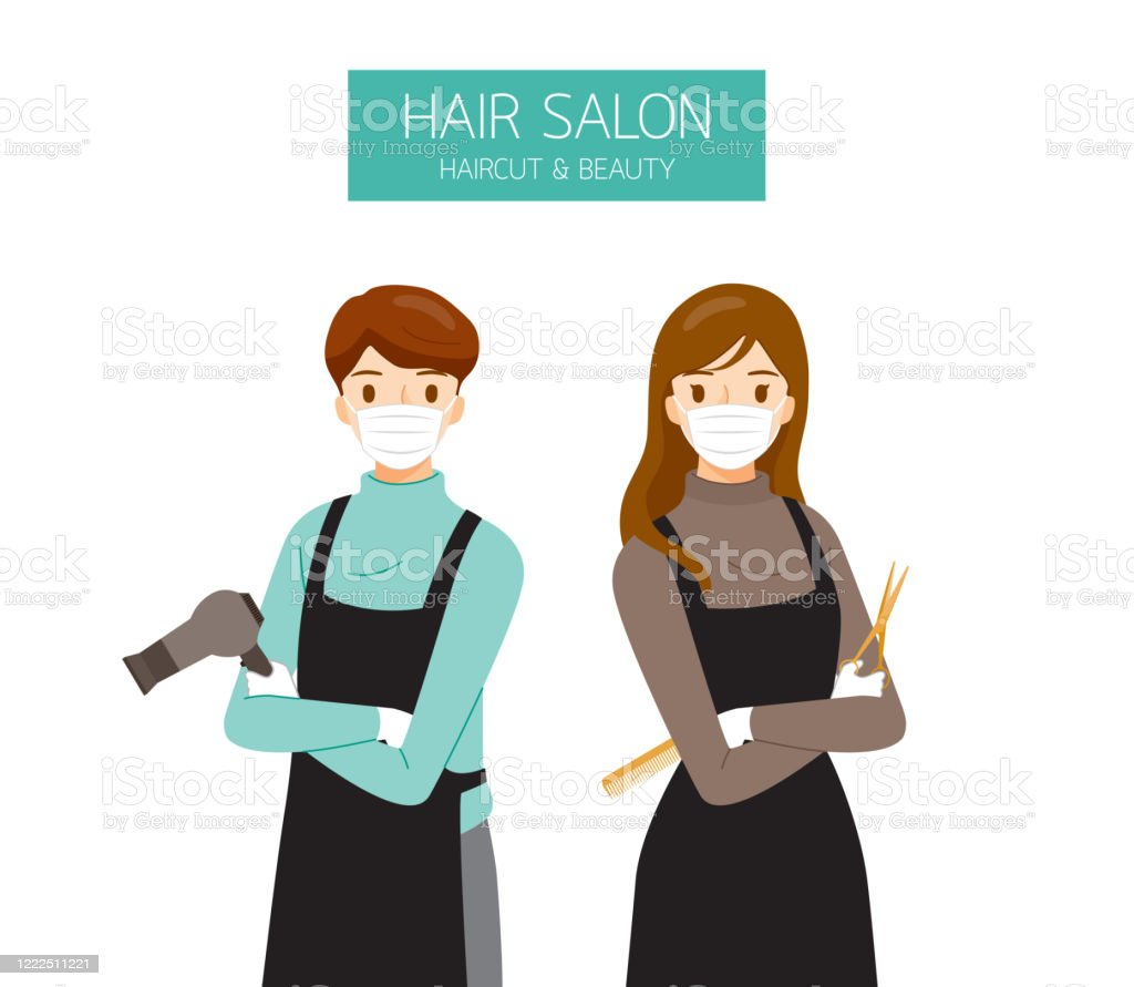 Female And Male Hairdresser Wearing Surgical Mask With Hair Salon Equipments In Hands Stock Illustration Download Image Now Istock