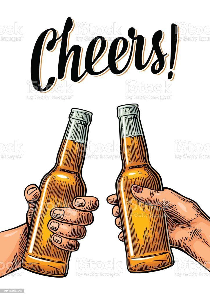 Female and male hands holding and clinking with two glasses beer and mulled wine. vector art illustration