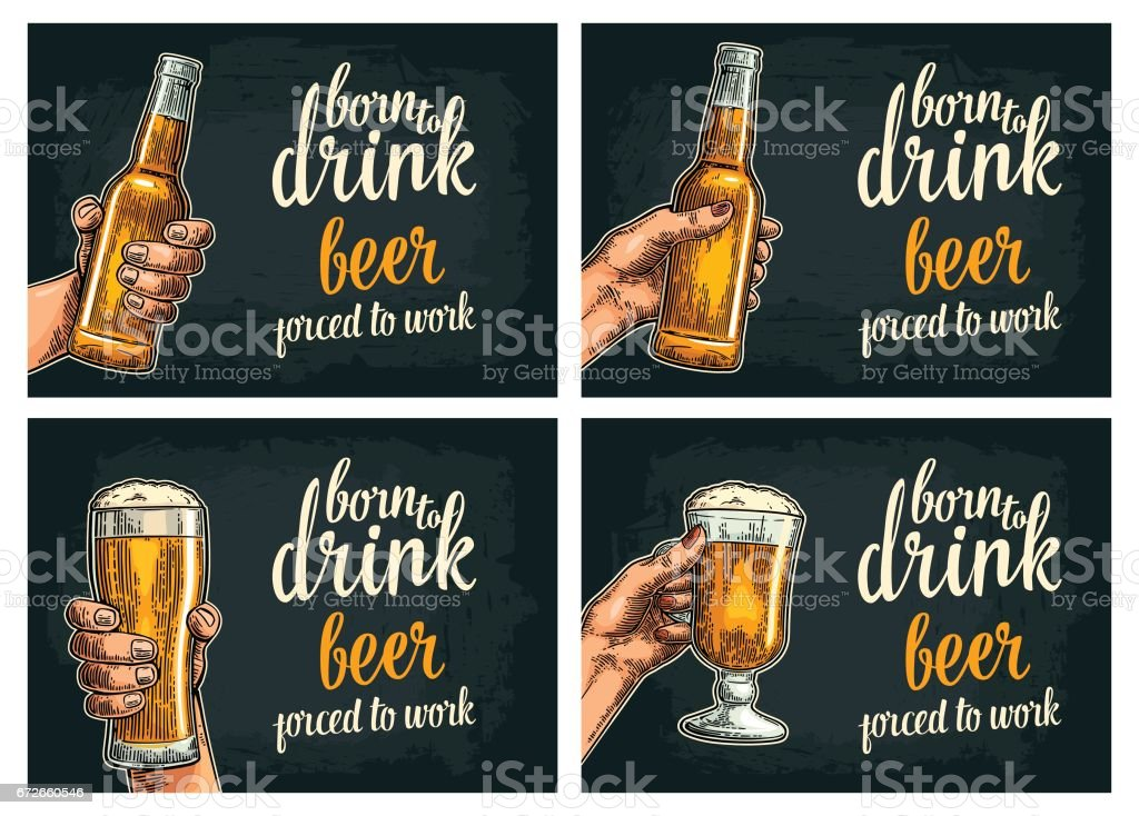 Female and male hands holding beer bottles and glass. vector art illustration