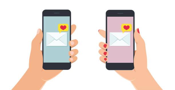 damki i męskie ręce trzymające smartfon z wiadomością o miłości na ekranie. ręka z telefonem komórkowym na białym tle. - ręka człowieka stock illustrations