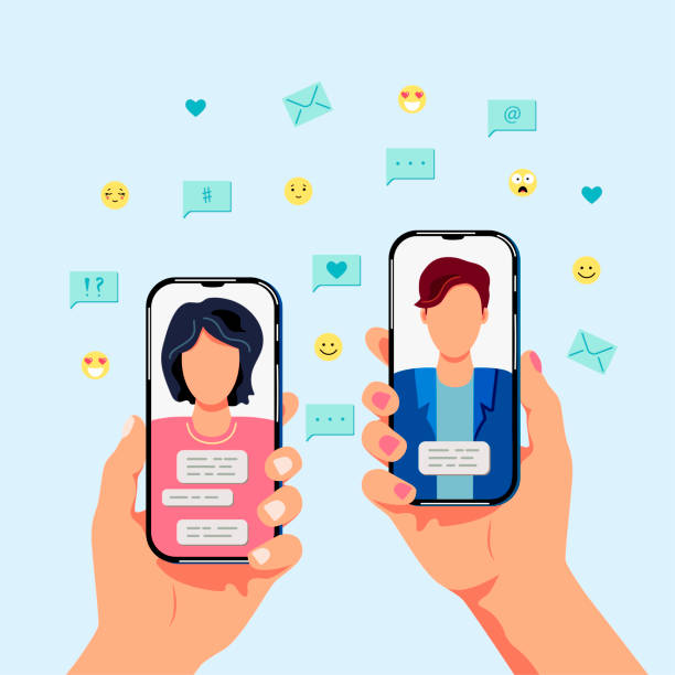illustrazioni stock, clip art, cartoni animati e icone di tendenza di female and male persons are chatting on smartphones. - woman chat video mobile phone