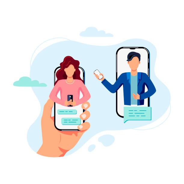 illustrazioni stock, clip art, cartoni animati e icone di tendenza di female and male persons are chatting on smartphones. - woman chat video mobile phone