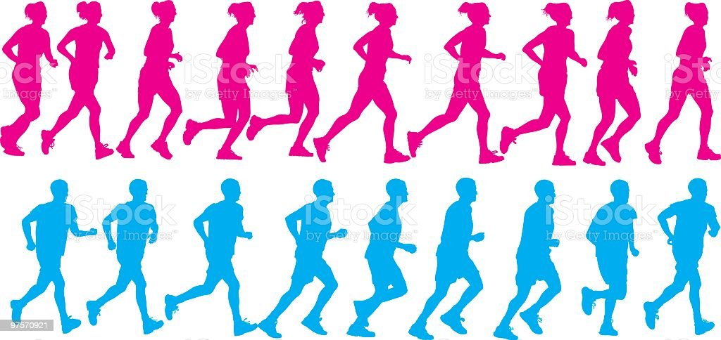 Female and Male running royalty-free female and male running stock vector art & more images of adult