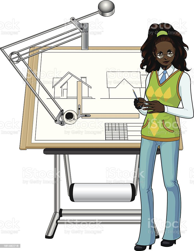 Female architect and her blueprint royalty-free stock vector art