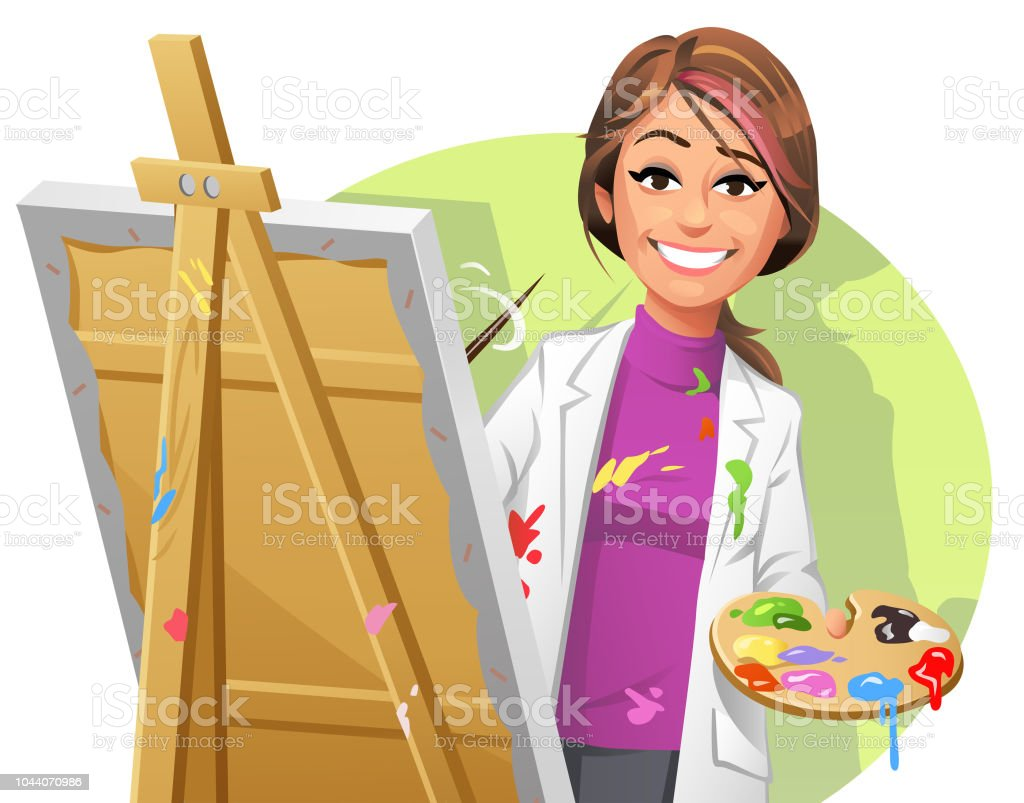 Female Artist Painting A Picture vector art illustration