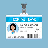 Female asian Doctor id card template,Medical identity badge with barcode,flat vector illustration