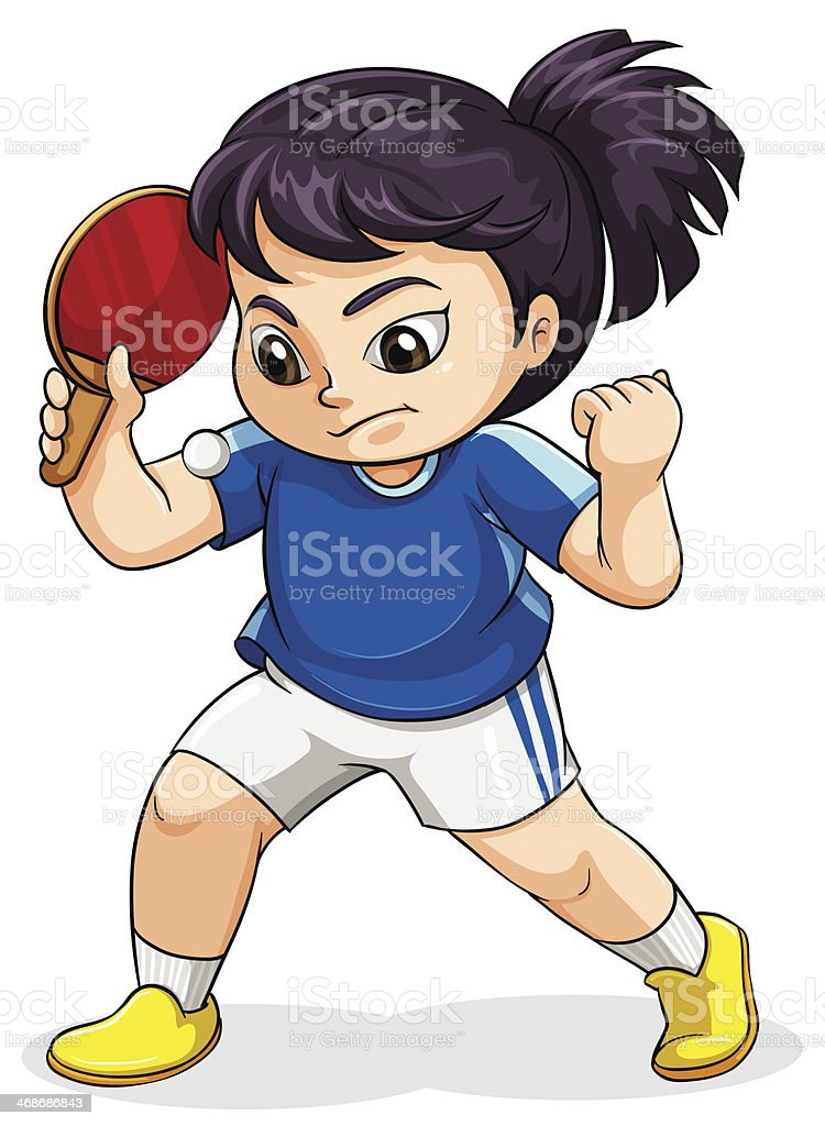 female asian playing tabletennis royalty-free stock vector art