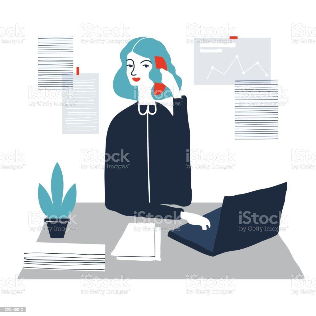 Weibliche assistant – Vektorgrafik