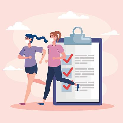female athletes running checklist fitness lifestyle